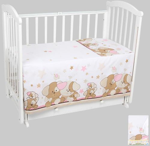 Комплект постельного белья в кроватку Leader Kids 3 предмета Собачки Розовый (1)