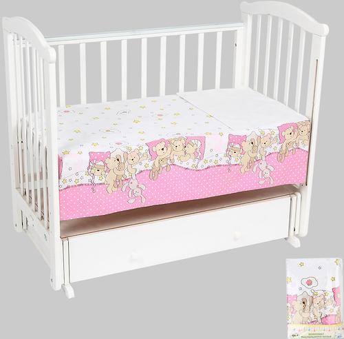 Комплект постельного белья в кроватку Leader Kids Тихий час Розовый (1)