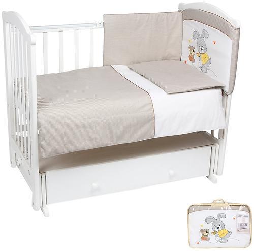Комплект в кроватку Leader Kids Заяц с собачкой 7 предметов Кофе (1)
