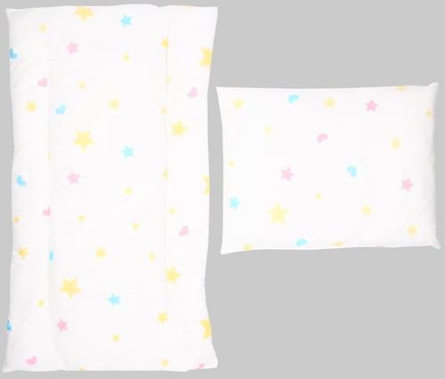 Комплект в коляску Leader Kids матрасик+подушка Звезды Белый бязь (1)