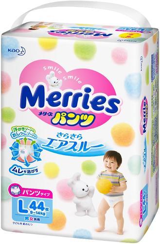 Подгузники-трусики Merries L 9-14кг 44шт (5)