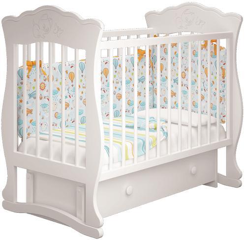 Кроватка Елена 3 Белая с ящиком (7)