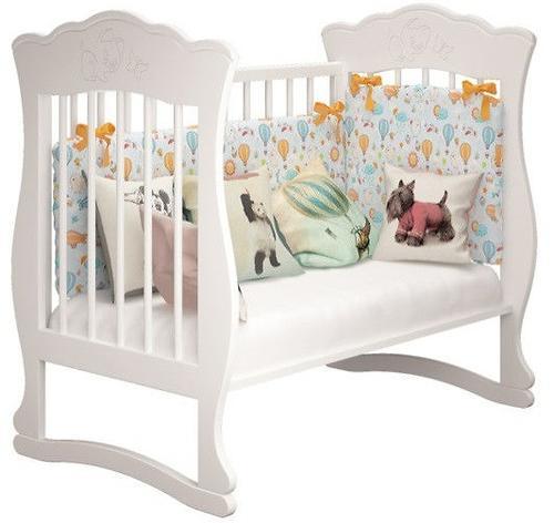 Кроватка Елена 3 Белая с ящиком (11)