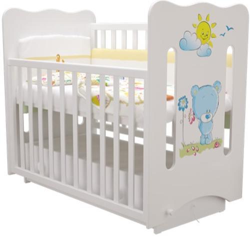 Кровать-манеж Руслана белая с ящиком Медвежонок с цветами (5)