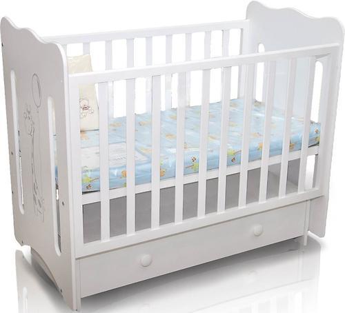 Кровать-манеж Руслана белая с ящиком Жирафик (5)