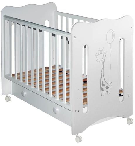 Кровать-манеж Руслана белая с ящиком Жирафик (4)