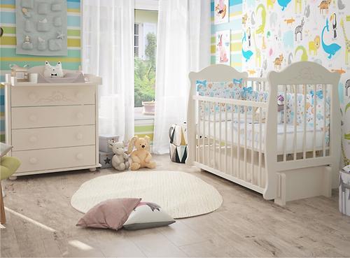 Кровать-манеж Можгамебель Мишутка 2 Белая без ящика (12)