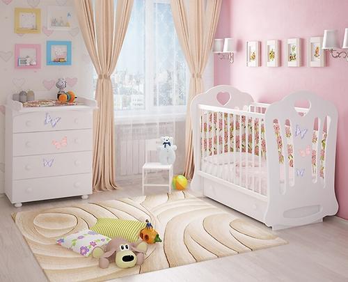 Кровать-манеж Шарлотта 3 белая с ящиком Птички (8)