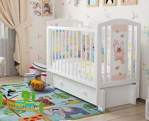 Кровать-манеж Можгамебель Тедди 2 Белая без ящика (10)