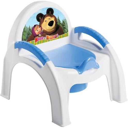 Горшок-стульчик Маша и Медведь с аппликацией Голубой (1)