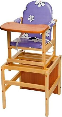 Стул-стол трансформер Октябренок Ромашки фиолетовые Светлый дуб/Бук (1)