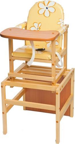 Стул-стол трансформер Октябренок Ромашки желтые светлый дуб/бук (1)