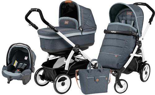 Коляска 3в1 Peg-Perego Set Modular Pop Up на шасси Book 51 Black/White Blue Denim (7)