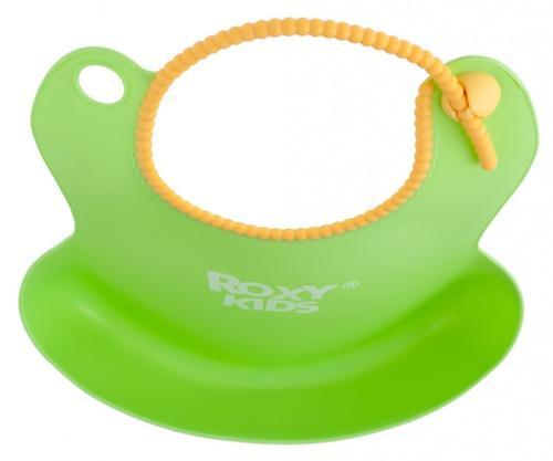 Нагрудник Roxy-Kids мягкий с кармашком и застежкой RB-401-G Зеленый (9)