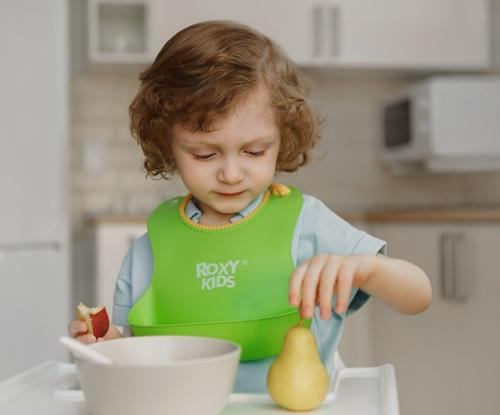Нагрудник Roxy-Kids мягкий с кармашком и застежкой RB-401-G Зеленый (12)