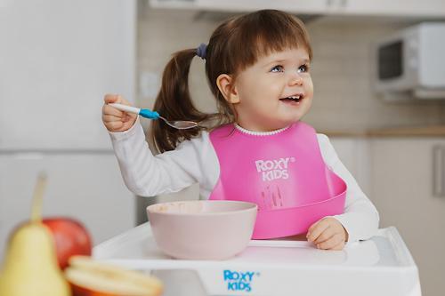 Нагрудник Roxi-Kids мягкий с кармашком и застежкой RB-401-R Розовый (12)