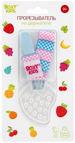 Прорезыватель Roxy Kids на держателе Голубой с Розовой клеткой (8)