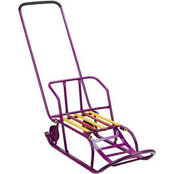 Санки складные, c переставным толкателем, колесами, подножкой, складной спинкой Малиновые - Minim