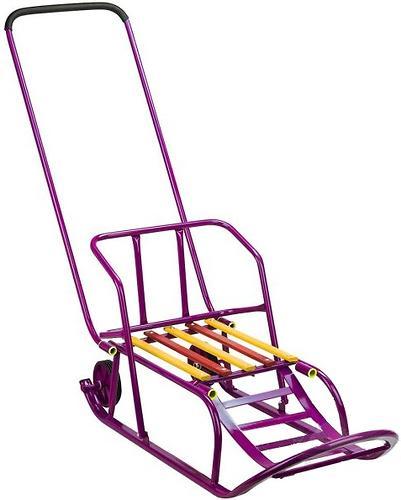 Санки складные, c переставным толкателем, колесами, подножкой, складной спинкой Малиновые (5)