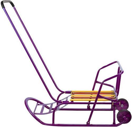 Санки складные, c переставным толкателем, колесами, подножкой, складной спинкой Малиновые (7)