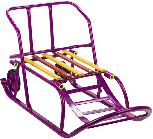 Санки складные, c переставным толкателем, колесами, подножкой, складной спинкой Малиновые (8)