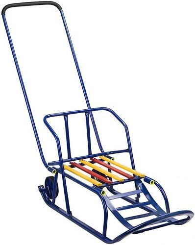 Санки складные, c переставным толкателем, колесами, подножкой, складной спинкой Синие (5)
