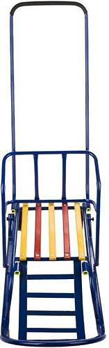 Санки складные, c переставным толкателем, колесами, подножкой, складной спинкой Синие (6)