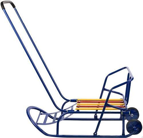 Санки складные, c переставным толкателем, колесами, подножкой, складной спинкой Синие (7)
