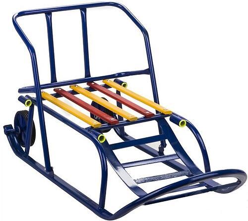 Санки складные, c переставным толкателем, колесами, подножкой, складной спинкой Синие (8)