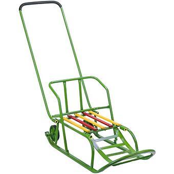 Санки складные, с переставным толкателем, колесами, подножкой, складной спинкой Зеленые - Minim
