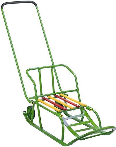 Санки складные, с переставным толкателем, колесами, подножкой, складной спинкой Зеленые (5)