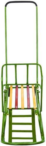 Санки складные, с переставным толкателем, колесами, подножкой, складной спинкой Зеленые (6)