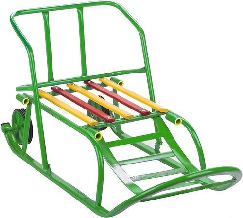 Санки складные, с переставным толкателем, колесами, подножкой, складной спинкой Зеленые (8)