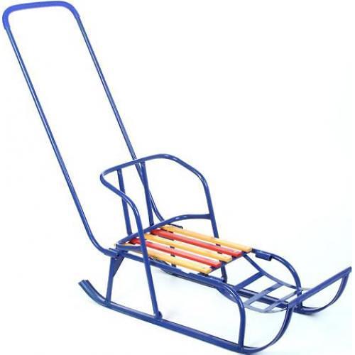 Санки детские Кулебаки на широком полозе с переставным толкателем Синие (1)
