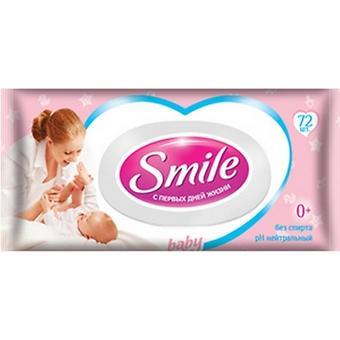 Салфетки влажные Smile 72 шт с клапаном - Minim