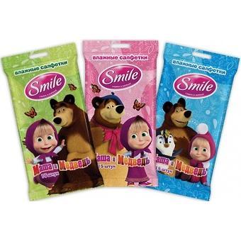 Салфетки влажные Smile Маша и Медведь 15 шт - Minim