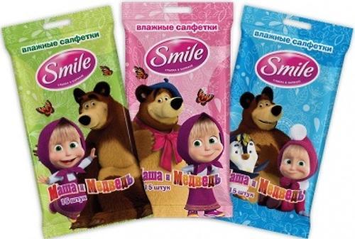 Салфетки влажные Smile Маша и Медведь 15 шт (6)
