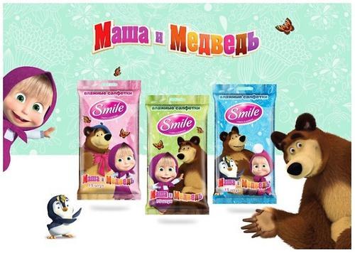 Салфетки влажные Smile Маша и Медведь 15 шт (7)