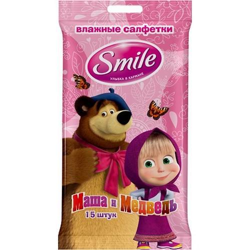 Салфетки влажные Smile Маша и Медведь 15 шт (10)