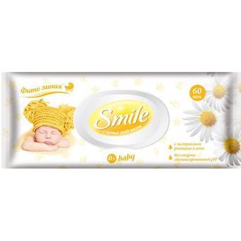 Салфетки влажные Smile 60 шт с ромашкой и алое - Minim