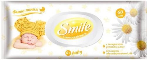 Салфетки влажные Smile 60 шт с ромашкой и алое (1)