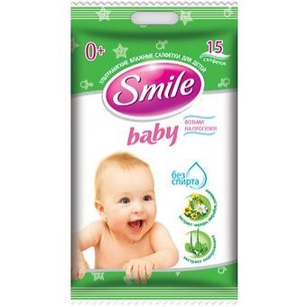 Салфетки влажные Smile 15 шт в ассортименте - Minim