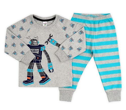 Пижама Crockid К 1519/св.серо-голуб.меланж+бирюз.полоска (1)