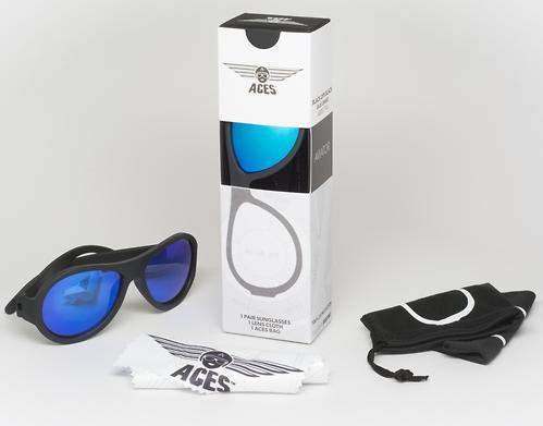 Солнцезащитные очки Babiators Aces Aviator - Black Ops (Чёрный - cиние линзы) 6+ (8)