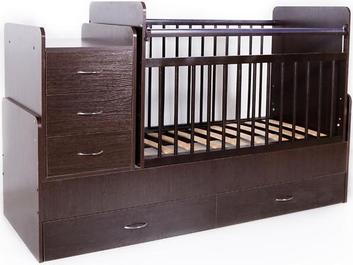 Кровать-трансформер детская Bambini M 01.10.01 Темный орех фасад МДФ (4)