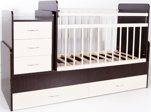 Кровать-трансформер детская Bambini M 01.10.01 Темный орех+Слоновая кость фасад МДФ (4)