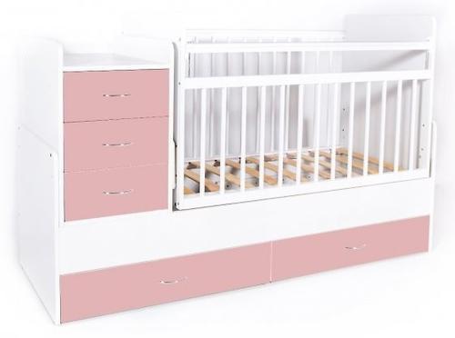 Кровать-трансформер детская Bambini M 01 10 01 Бело-Розовый фасад МДФ (4)