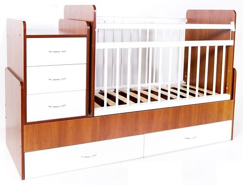 Кровать-траснсформер детская Bambini M 01 10 01 Светлый орех+Белый (4)