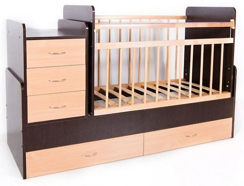 Кровать-трансформер детская Bambini M 01 10 01 Темный орех+Натуральный (4)
