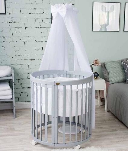 Кроватка детская Bambini овальная М 01.10.14 Серый (10)